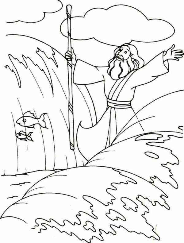 600x792 Moses And The Red Sea Coloring Page