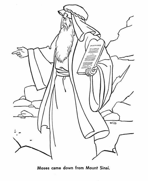 600x734 Moses Came Down From Mount Sinai With The Law Coloring Page