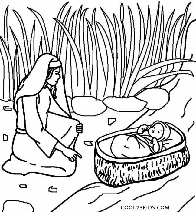 648x700 Baby Moses Coloring Page