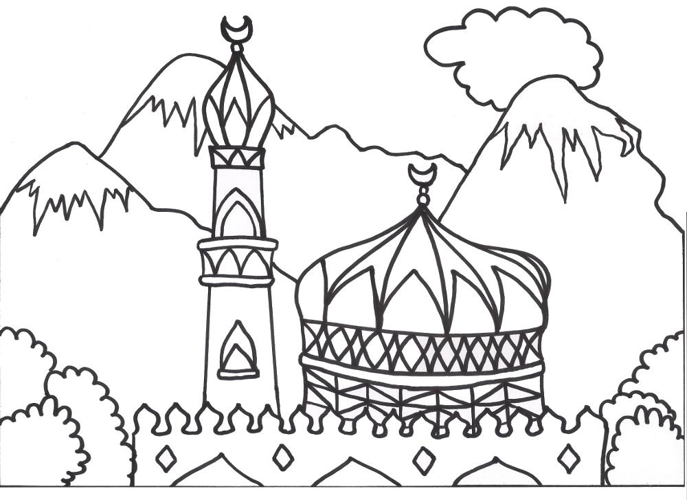 1000x727 Coloring Books For Muslim Children Mosque Arabic