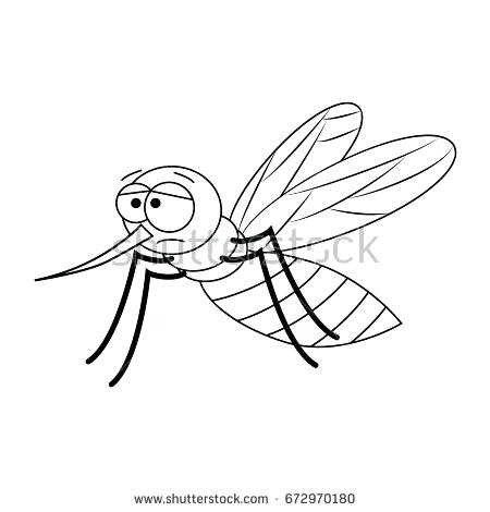 450x470 Mosquito Coloring Page Colorless Funny Cartoon Mosquito Vector