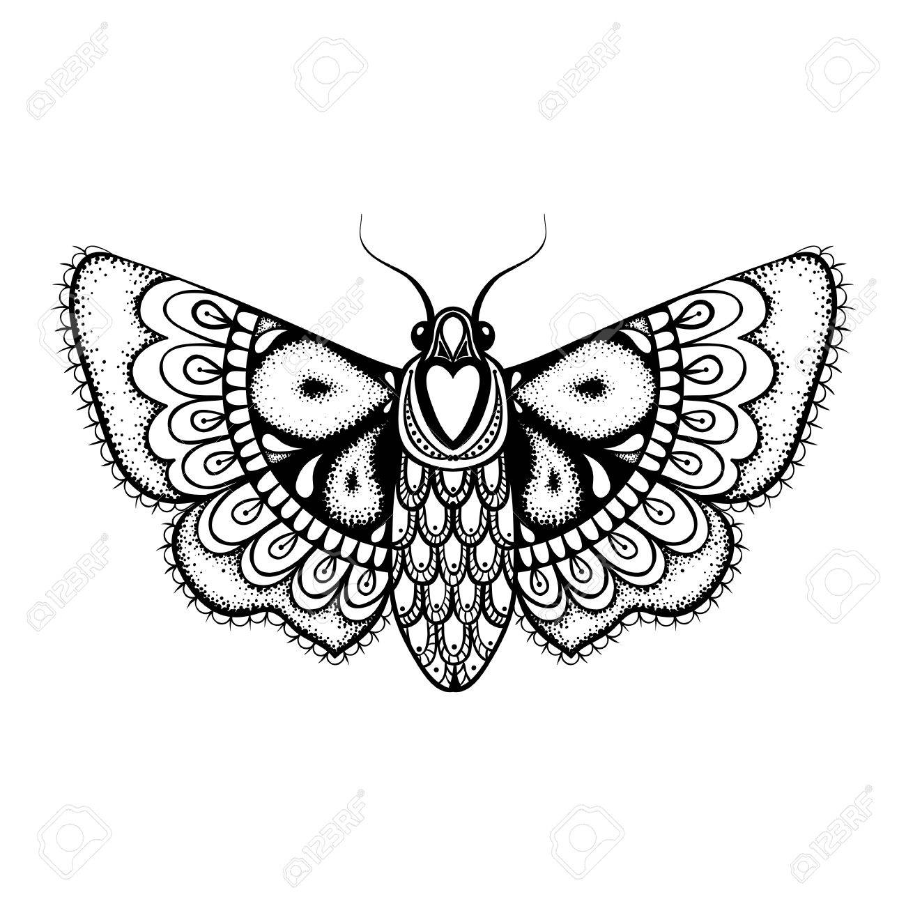 1300x1300 Hand Drawn Artistically Black Butterfly, Cute Ornamental Patterned
