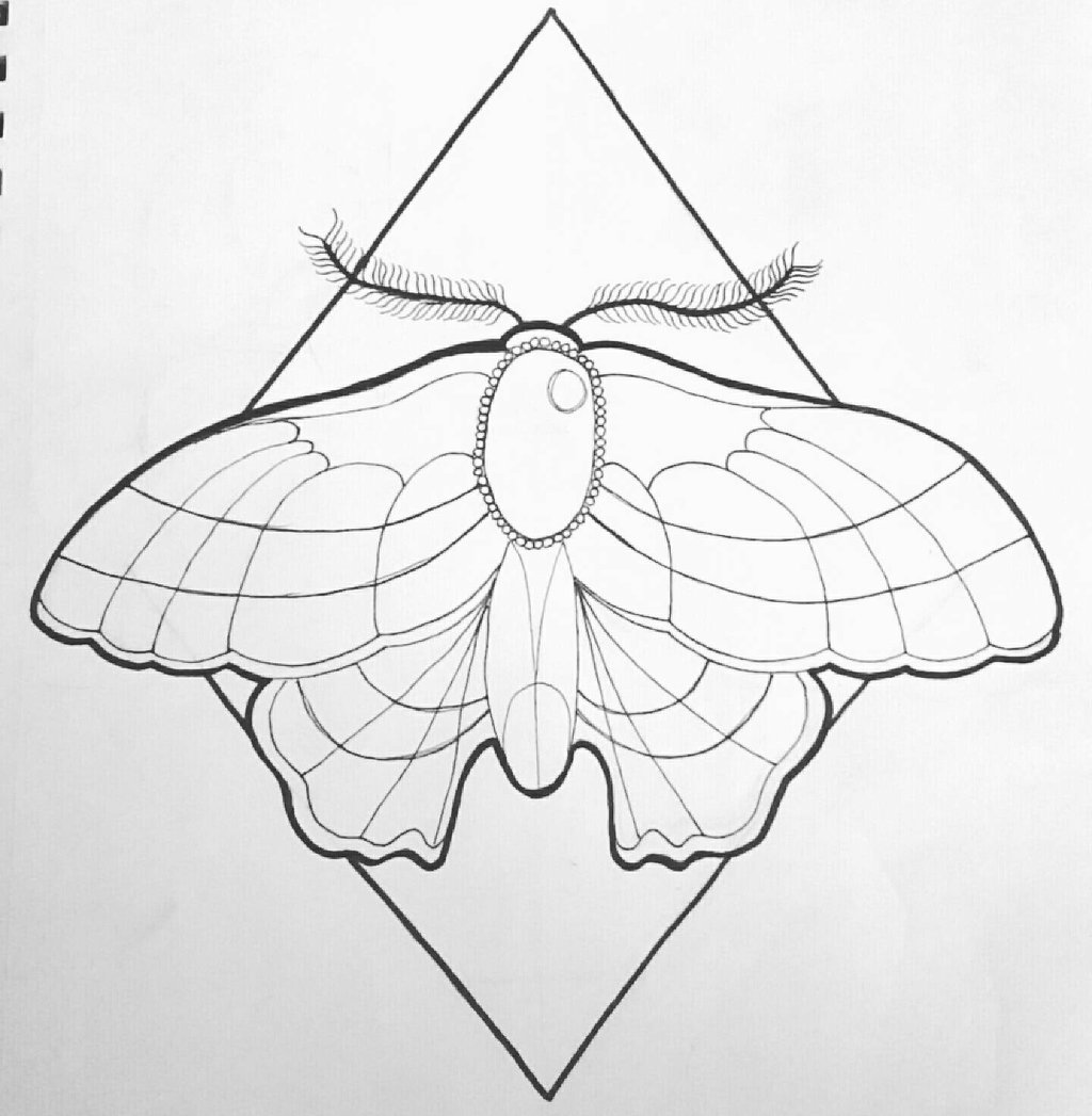 1024x1047 Neo Traditional Moth By Kaylababe75