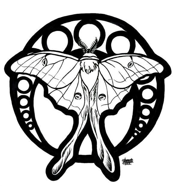 600x619 Luna Moth Nouveau By M Everham