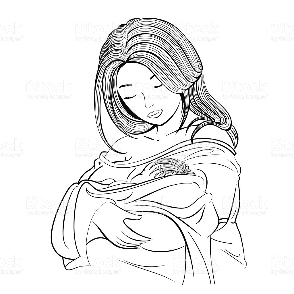 1024x1024 A Drawing Of A Mother Holding Her Baby Stock Vector Art Amp More