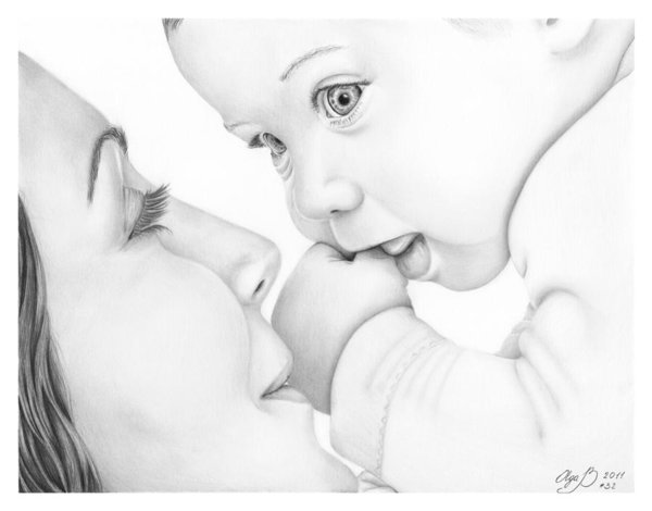 600x470 Mother And Baby Poster By Olga Bell