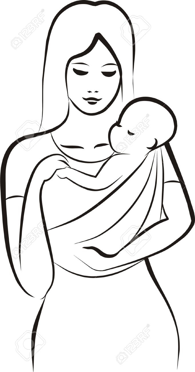 682x1300 A Mother And Baby Drawing Pencil Sketches Of Mother And Child