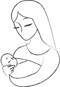 208x300 Mother Holding Baby Clipart