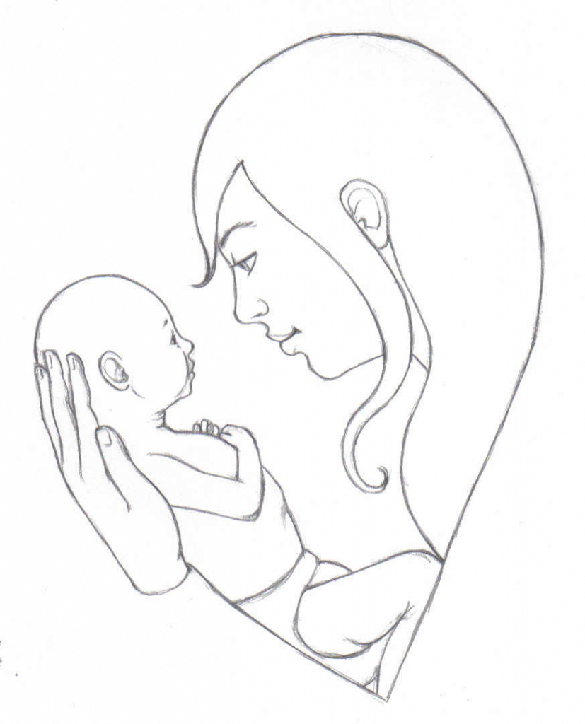 827x1024 Pencil Painting Mom And Baby Pencil Sketches Of Mother And Child