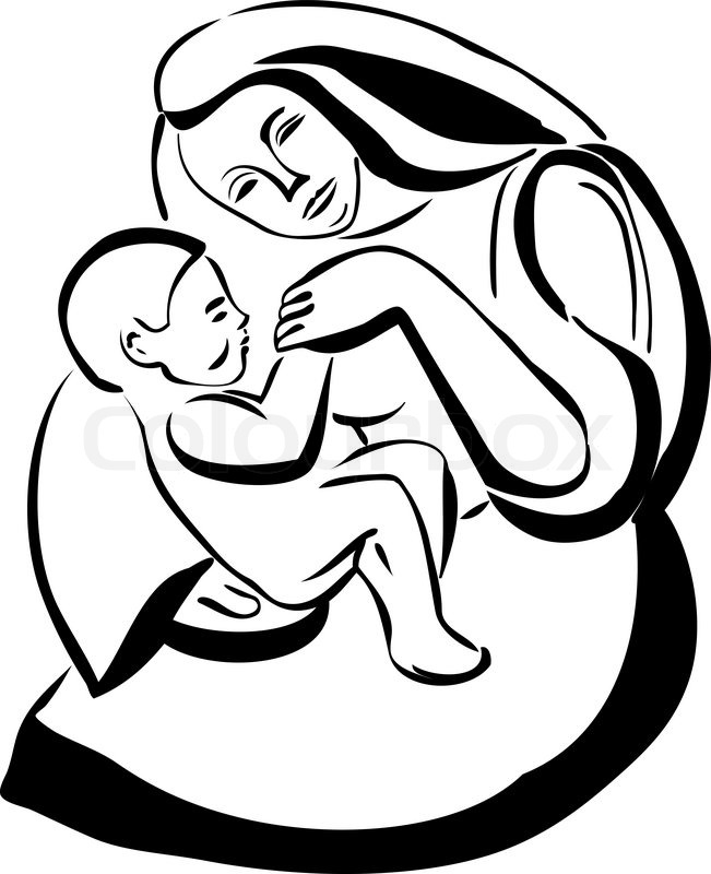651x800 Sketch Of A Woman Mother Holding A Baby Stock Vector Colourbox