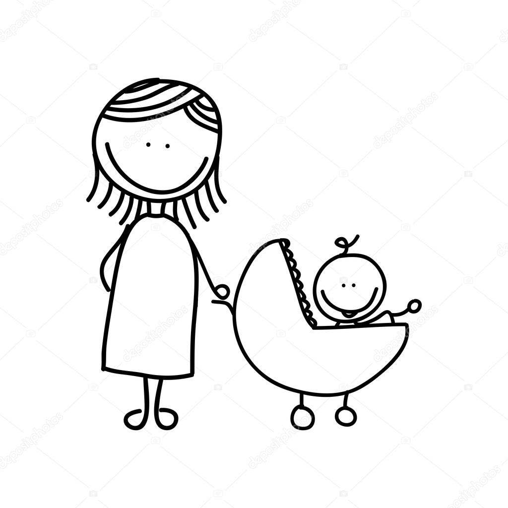1024x1024 Mother With Baby Drawing Isolated Icon Design Stock Vector