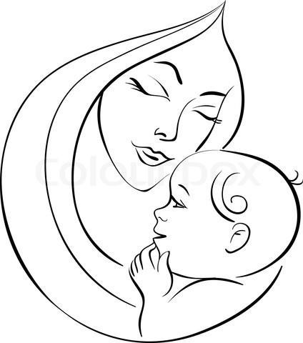 424x480 Beautiful Mother Silhouette With Baby In A Sling. Description