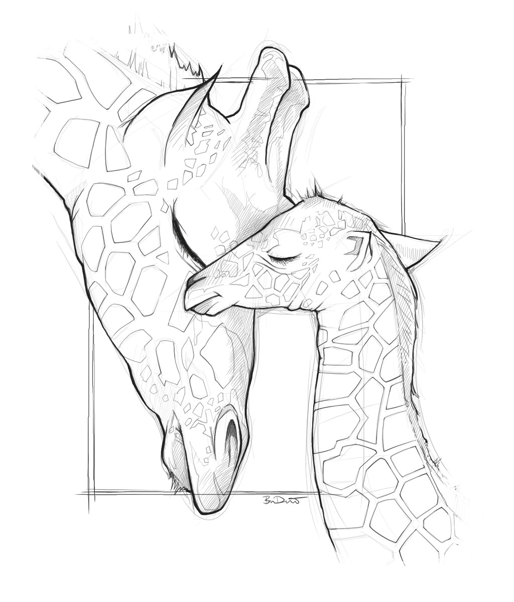 1024x1200 Drawn Giraffe Mother And Baby