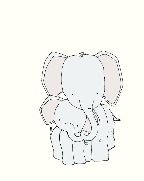 Mother And Baby Elephant Drawing