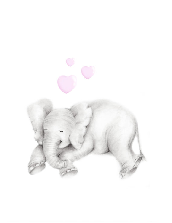 570x738 Canvas Nursery Art Set Of 3 Elephant Drawing Mother And Art