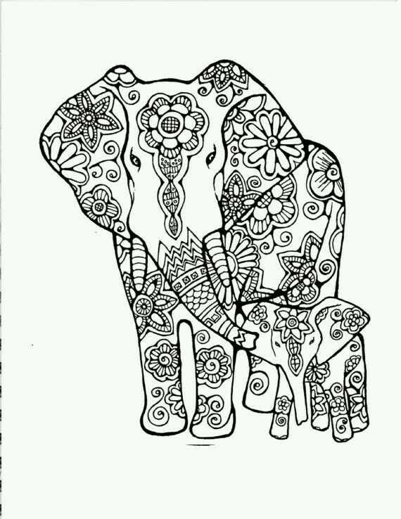 570x738 Elephant Silhouette Cameo Adult Coloring, Coloring
