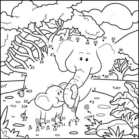 480x480 Elephant Mother With Baby Elephant Dot To Dot Free Printable