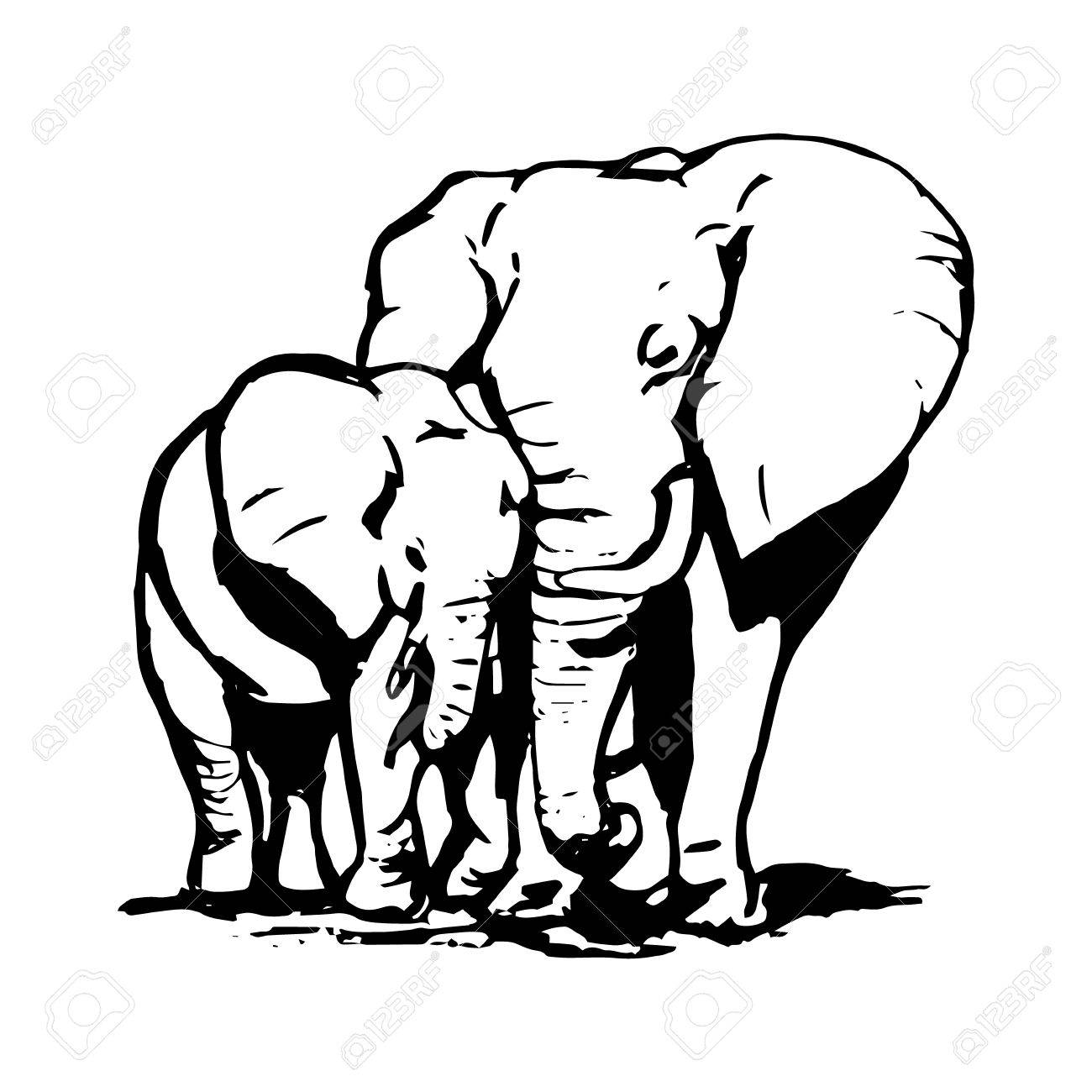 1300x1300 A Graphic Image Of Two Elephants. The Mother Elephant Hugging