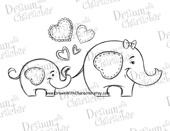 570x440 Mommy And Baby Elephant Mother's Day Digital Stamp Kopykake Image