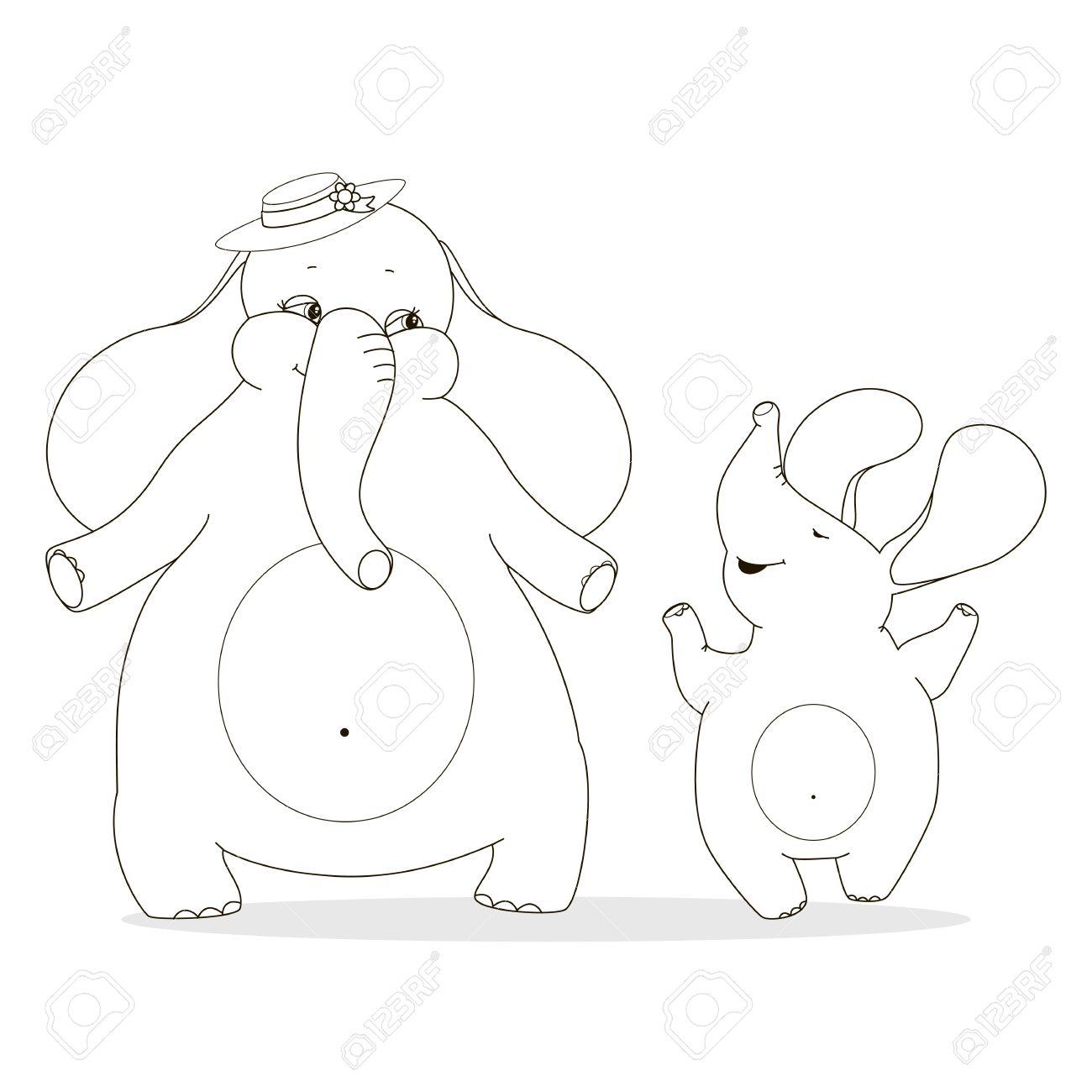 1300x1300 Mother Elephant And Baby Elephant Enjoyed. Family Outline Drawing