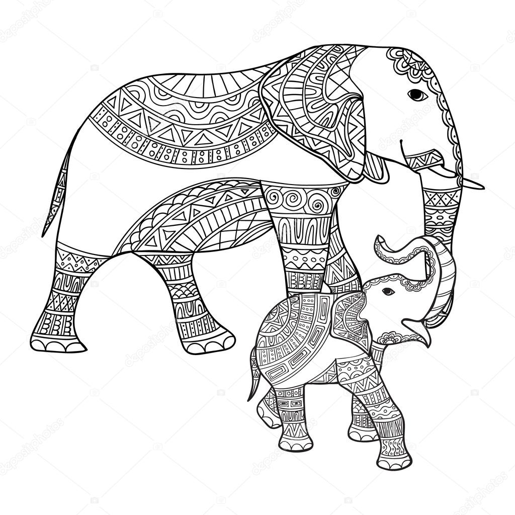 1024x1024 Mother Elephant And Baby. Black, White Doodle Print With Ethnic