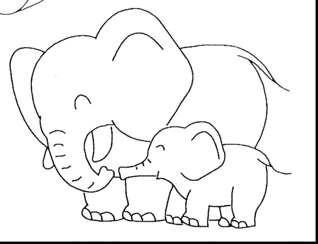 1043x801 Baby Elephant Coloring Pages Print Best Adult To And Free