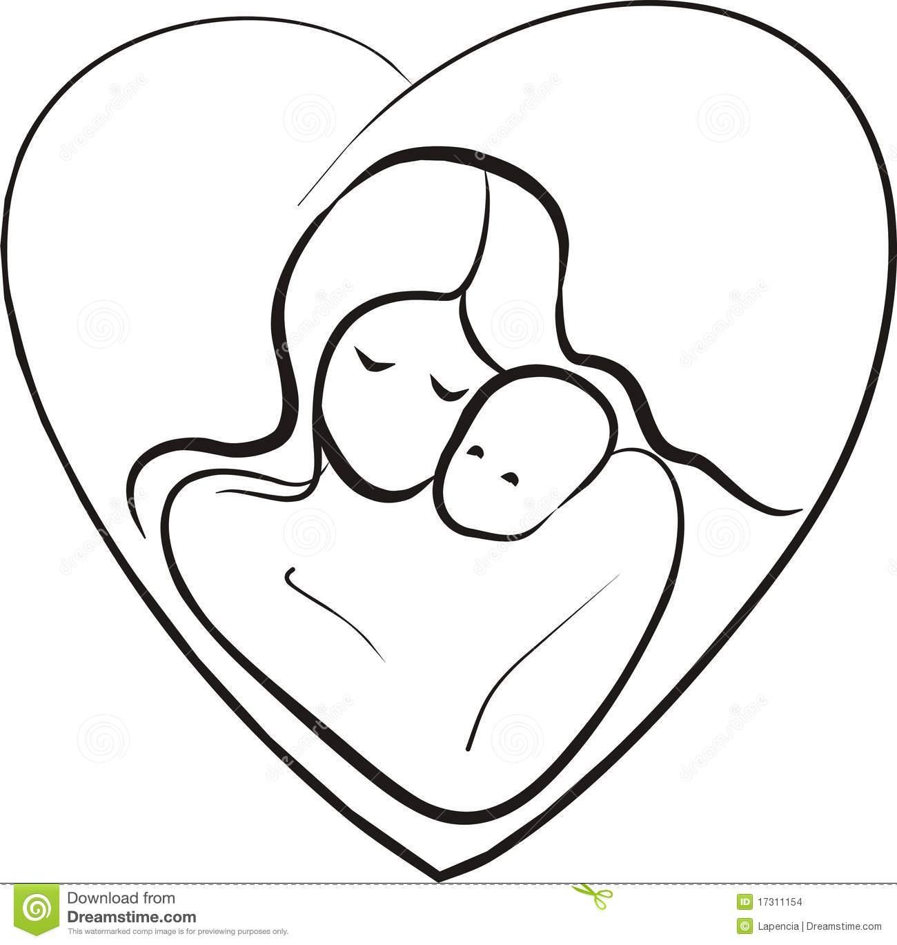1300x1369 Mother And Baby Drawing Mother And Baby Drawing Clipart Panda