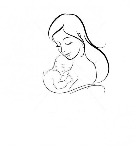 450x485 Mother And Baby Drawing Sketch Template Kreslenie