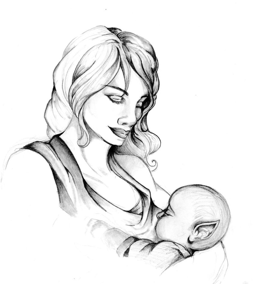 843x947 Mother And Baby Pencil Drawing Sketches Of Mother And Childpencil