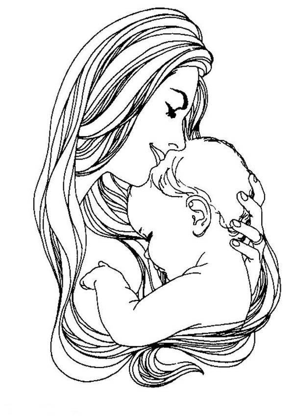 600x849 Mother And Baby Clipart Colouring Picture
