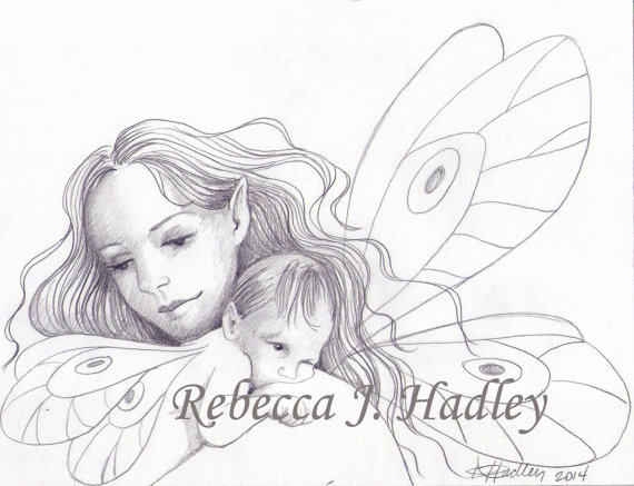 570x437 Mother And Daughter Fairy Original Pencil Drawing Newborn Baby