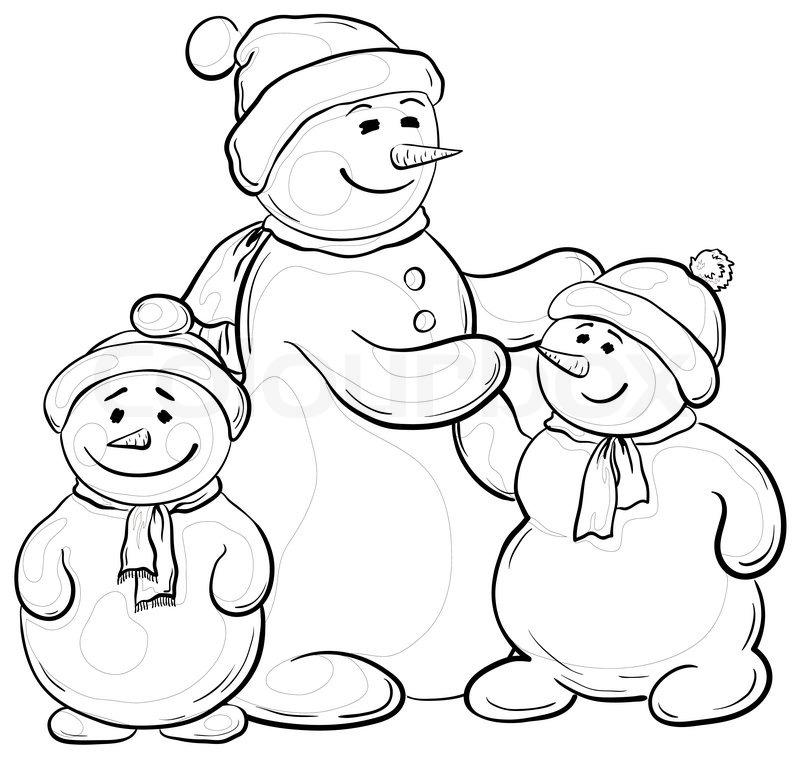 800x758 Cartoon, Monochrome Contours Snowmens Mother And Children Stock