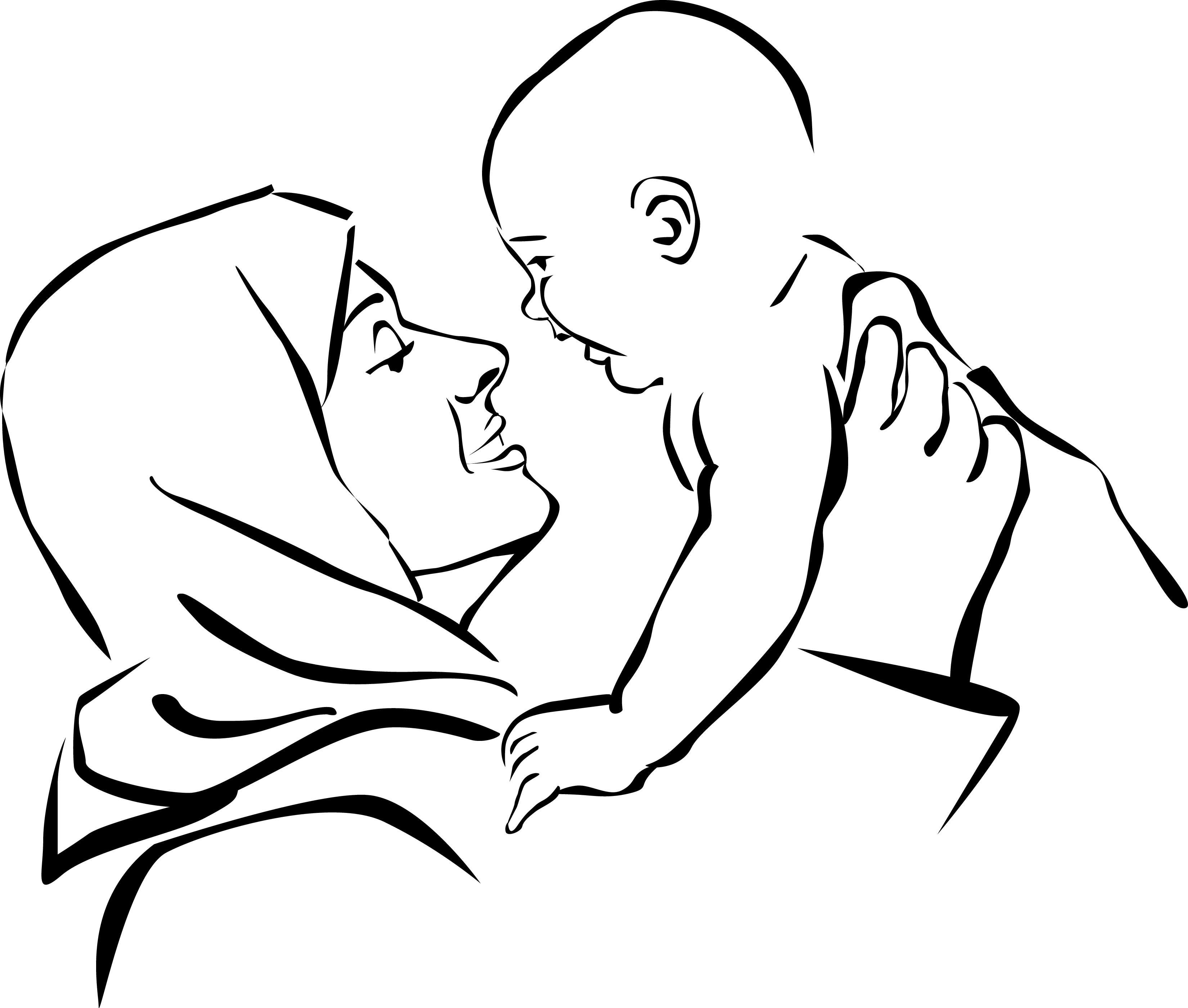 3300x2800 Mother And Baby Drawing Mother And Child Drawing Free Download