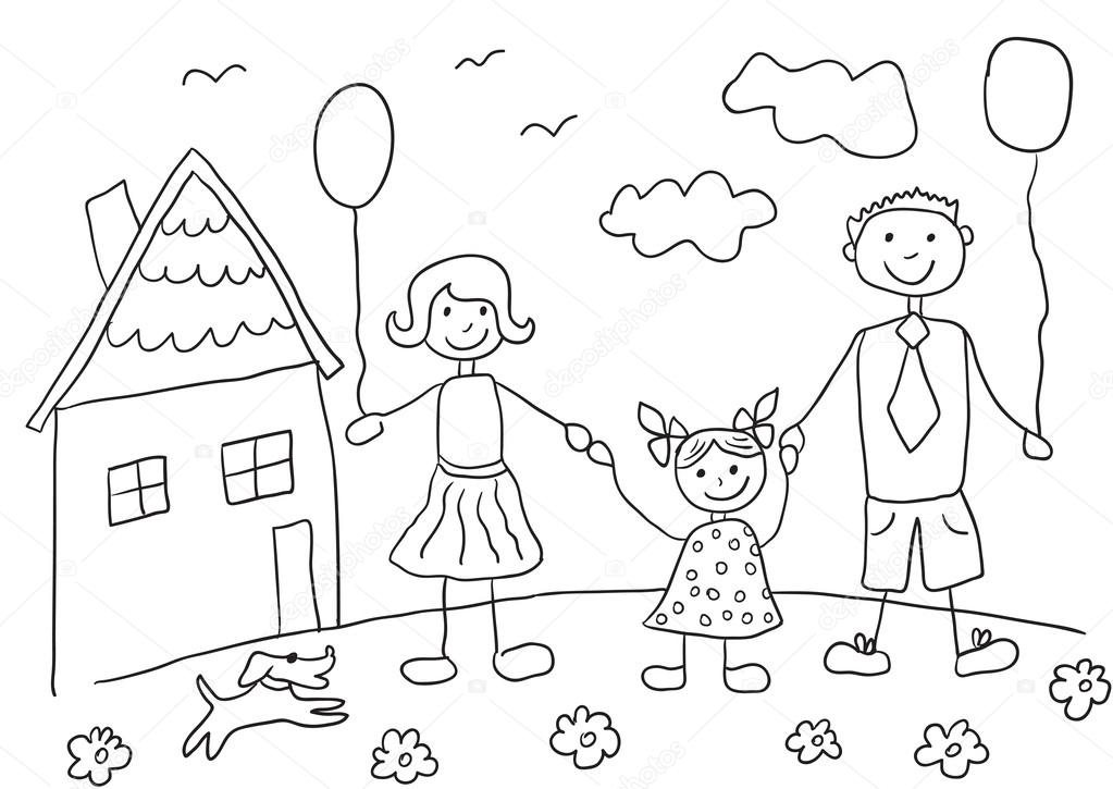 1023x725 Child's Drawing Happy Family With Dog. Father, Mother, Daughter