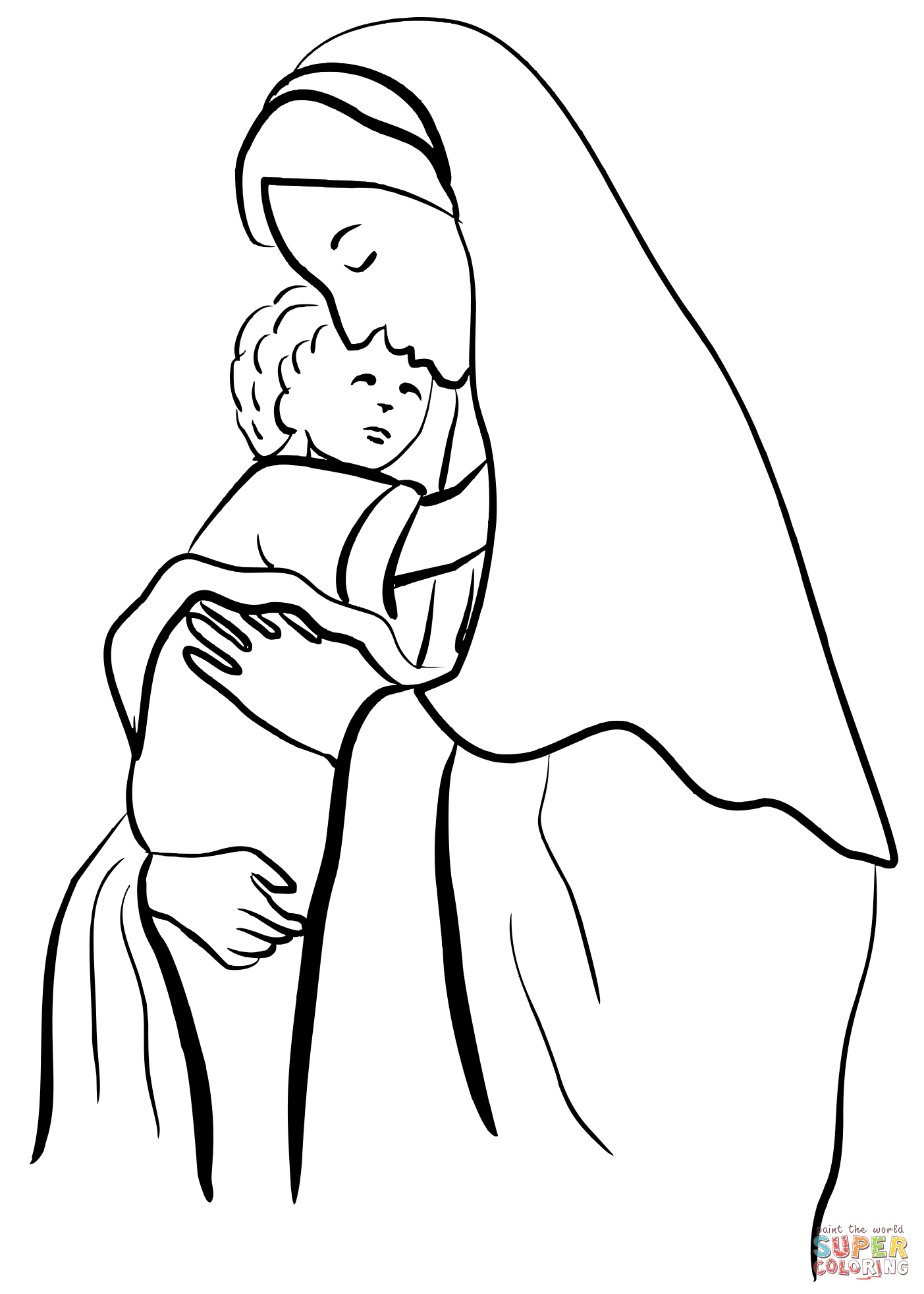 1403x1964 Mother Mary Holding Child Jesus Coloring Page Free Printable