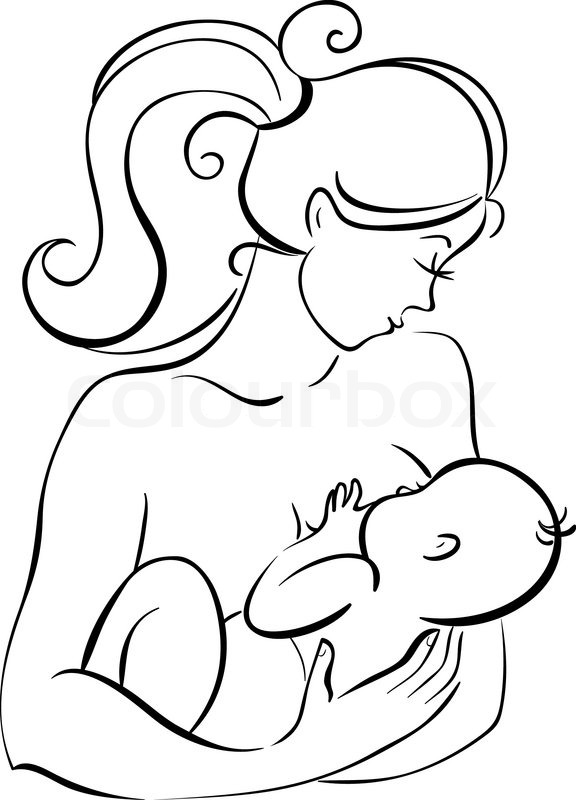 576x800 How To Draw A Mother Holding A Baby