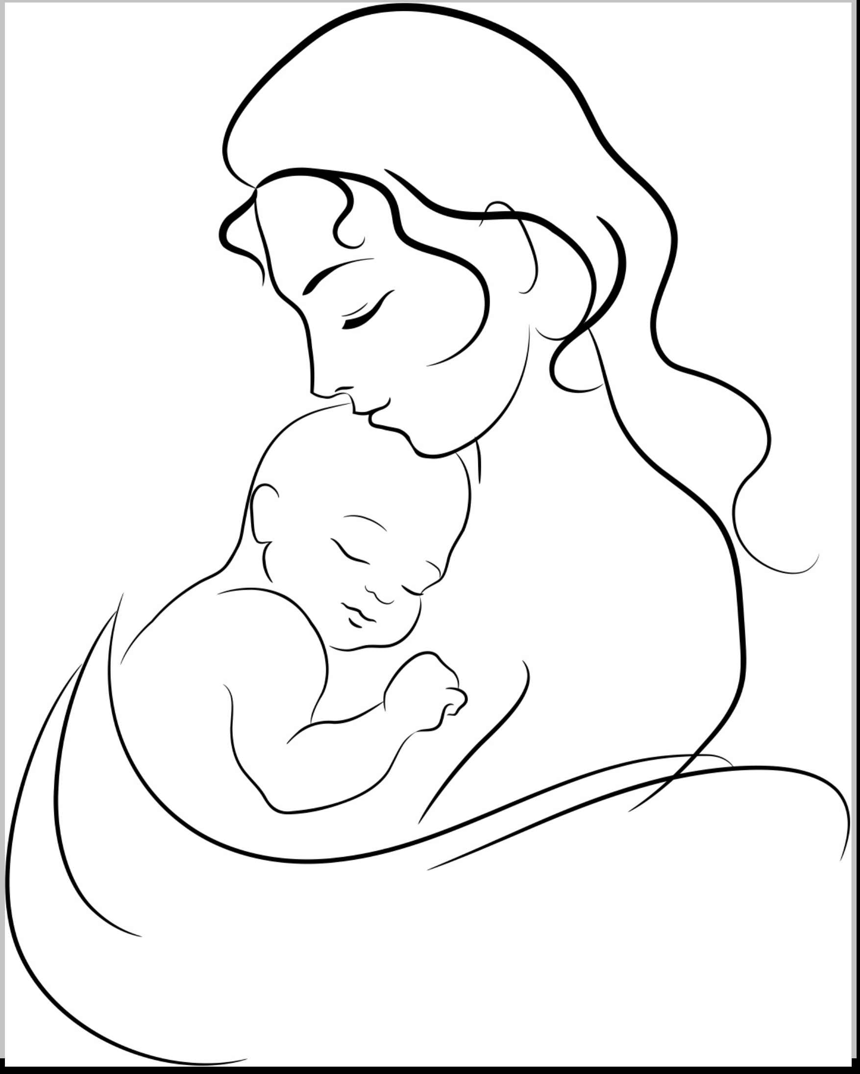 1755x2190 drawing of mother and child mother and child drawing free