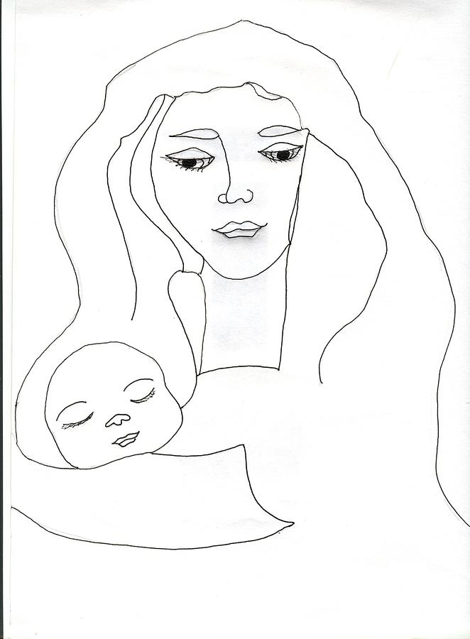 662x900 Holy Mother And Child Drawing By Antoinette Wetzel