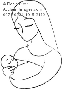 208x300 Illustration Of A Mother And Child Line Drawing