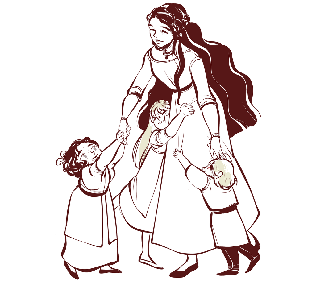 Mother And Children Drawing