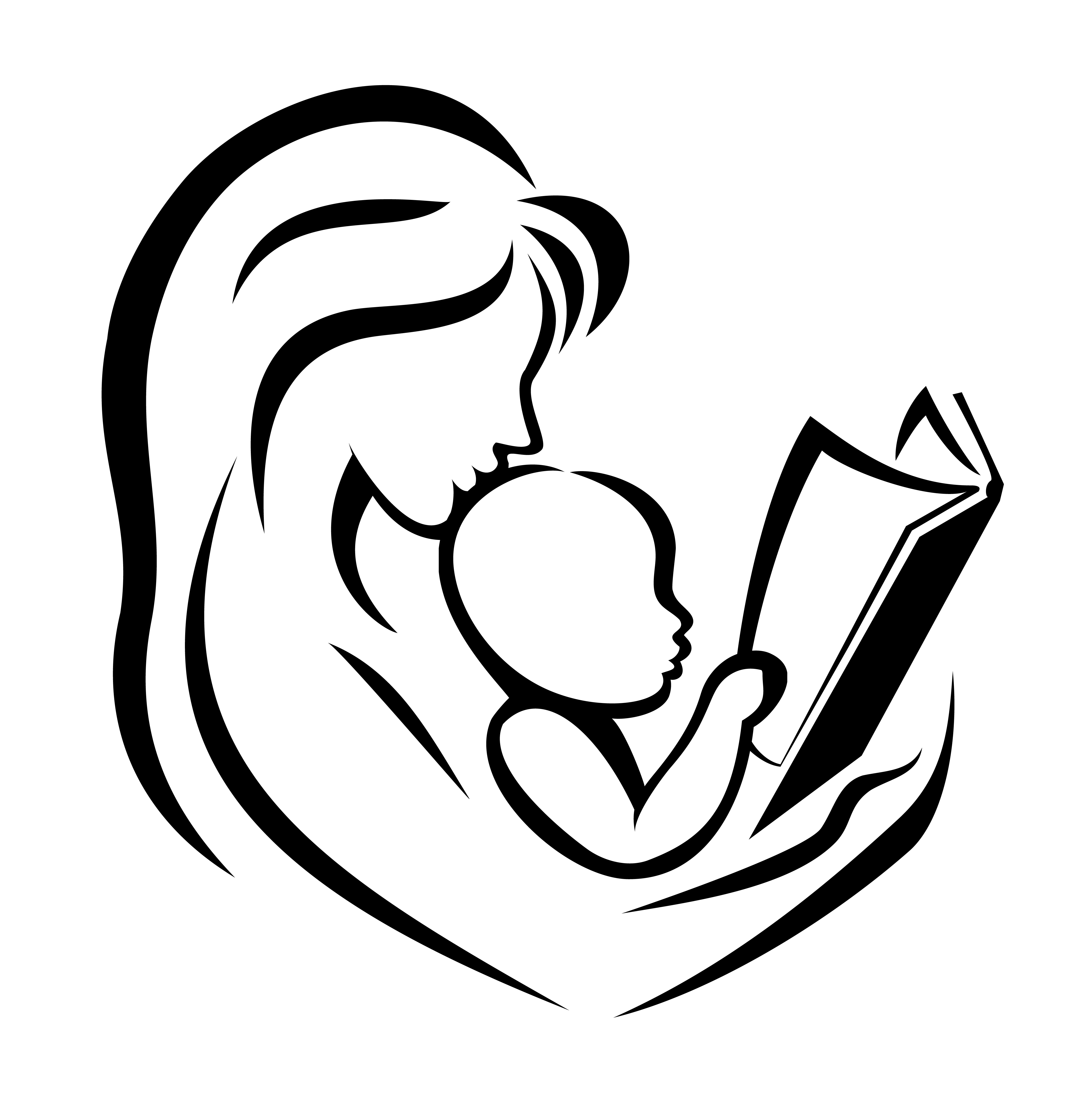 4491x4657 Mother And Child Line Drawing Mother And Child Reading The Book