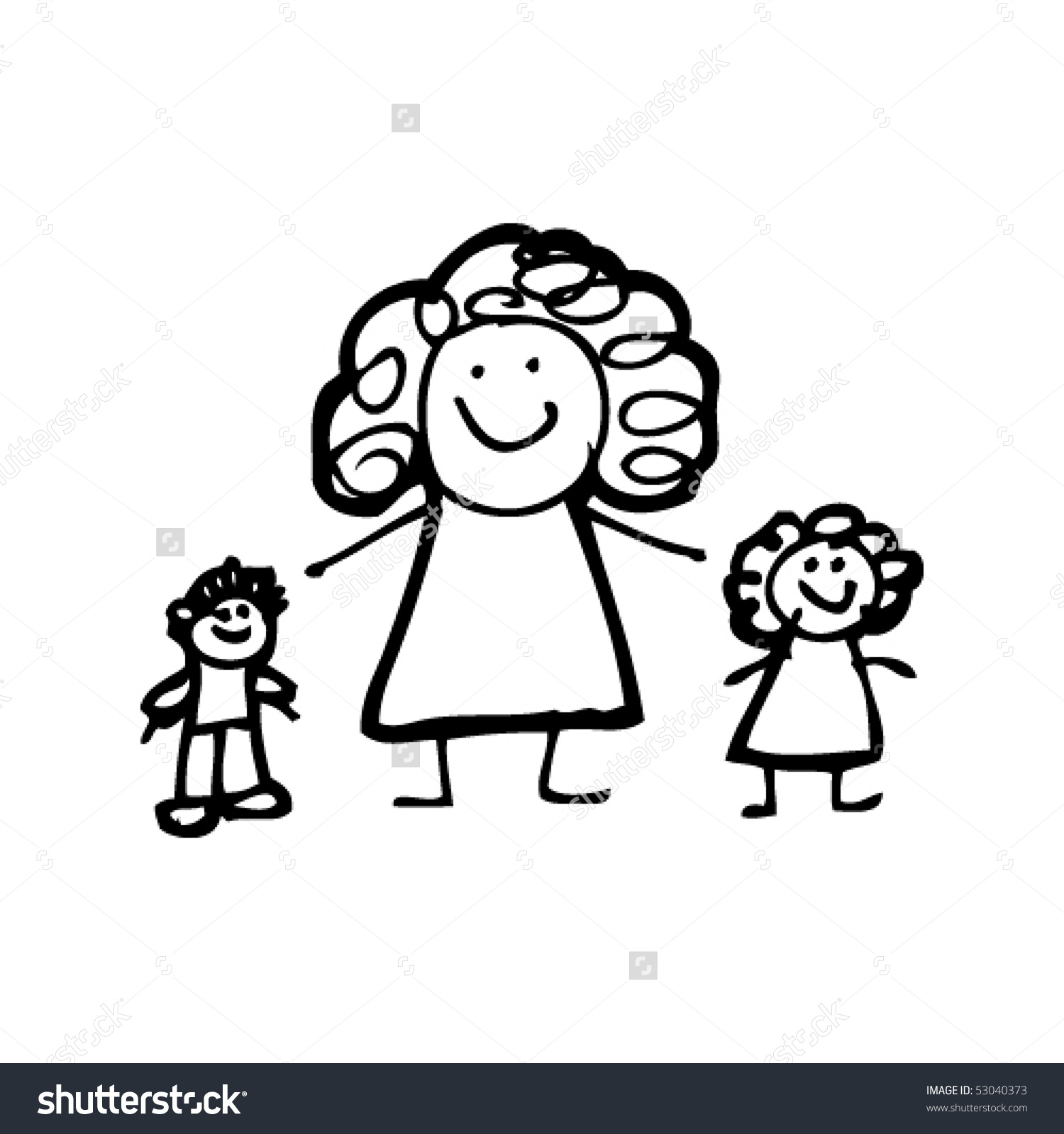 1500x1600 Mother With Child Drawing Childs Drawing Mother Children Stock