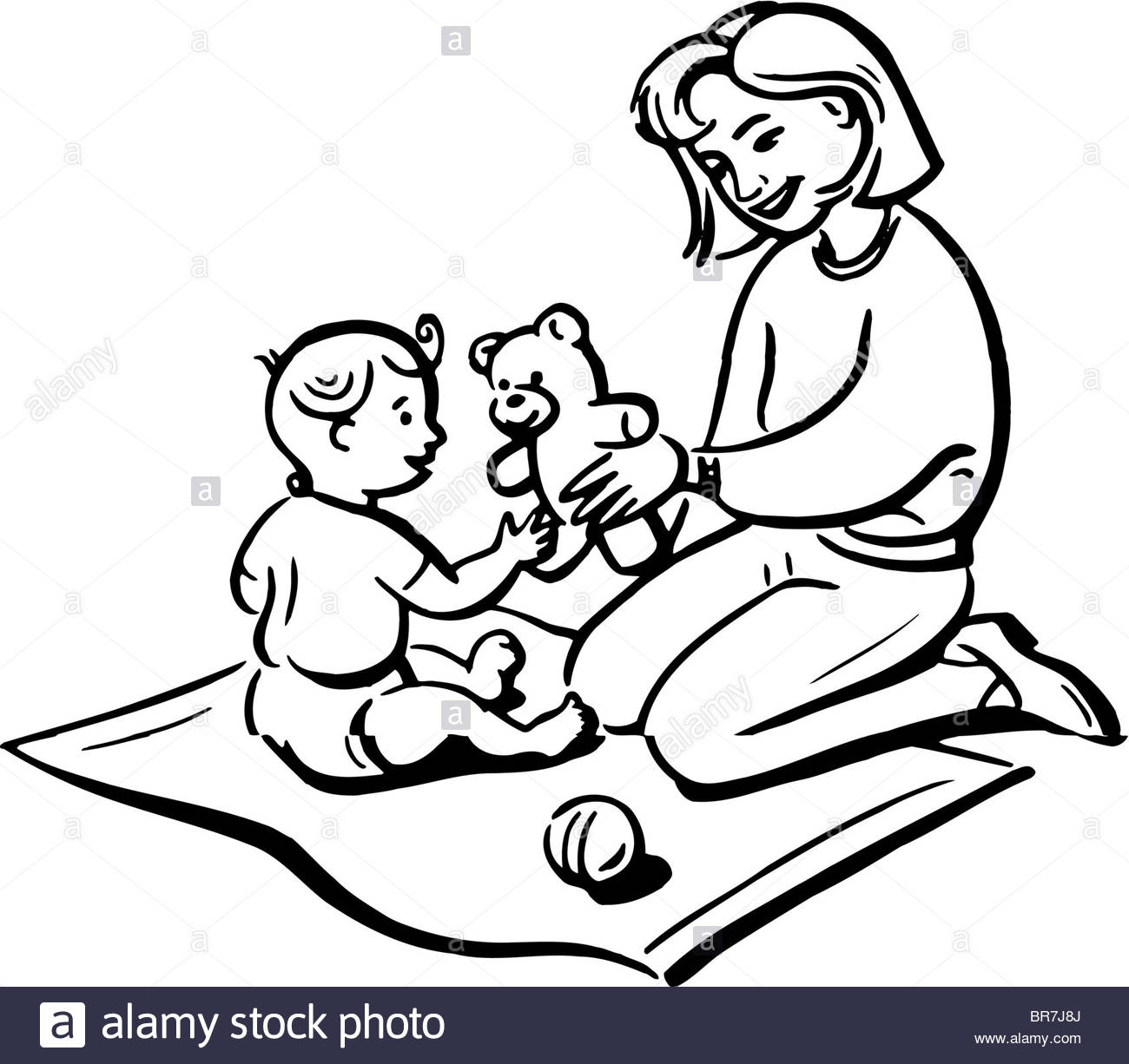 1300x1226 A Black And White Drawing Of A Mother Playing With Her Child Stock