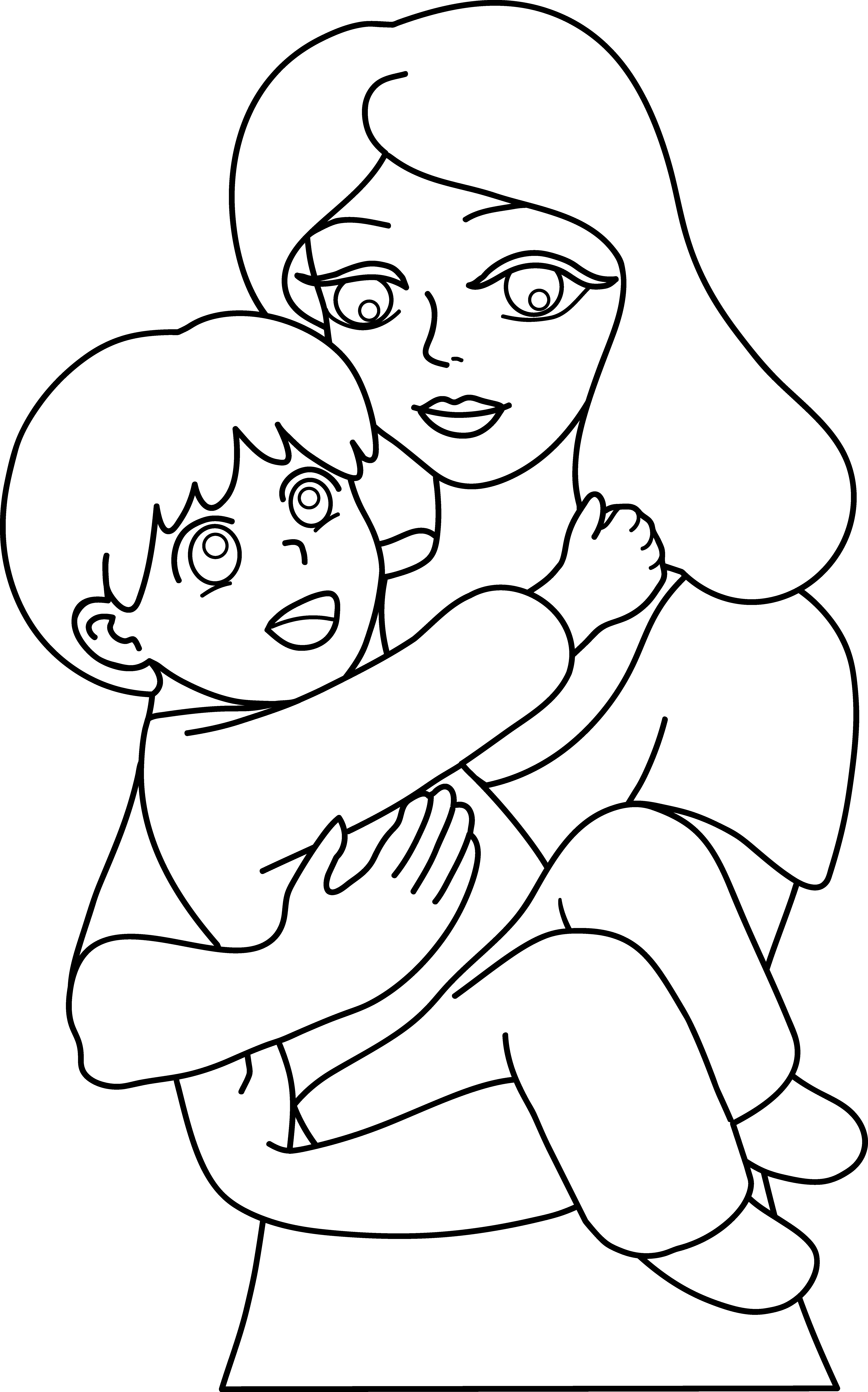 5741x9204 Mother And Child Line Art