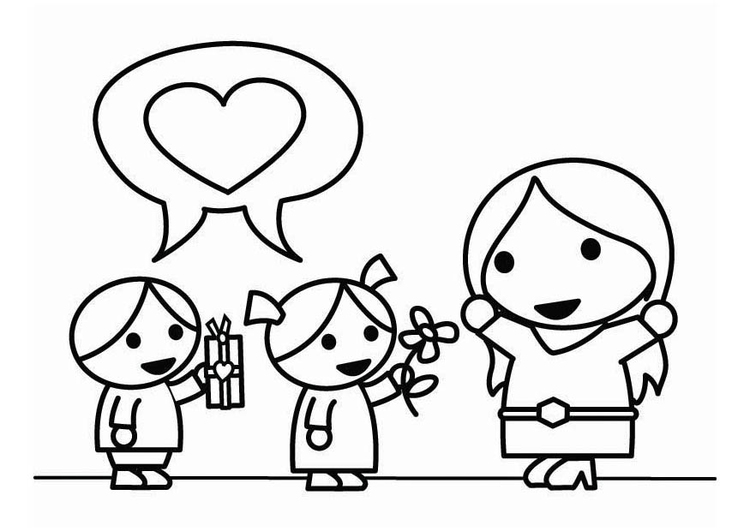 750x531 Coloring Page Mother's Day With Children