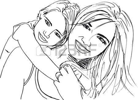 450x327 Sketch Of Mother And Children Relaxing. Vector Illustration
