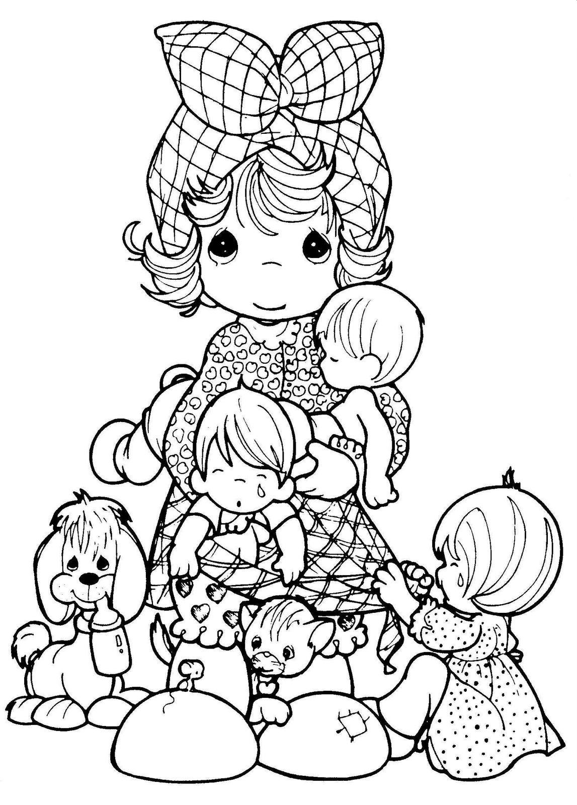 1147x1600 Mother And Children Coloring ~ Child Coloring
