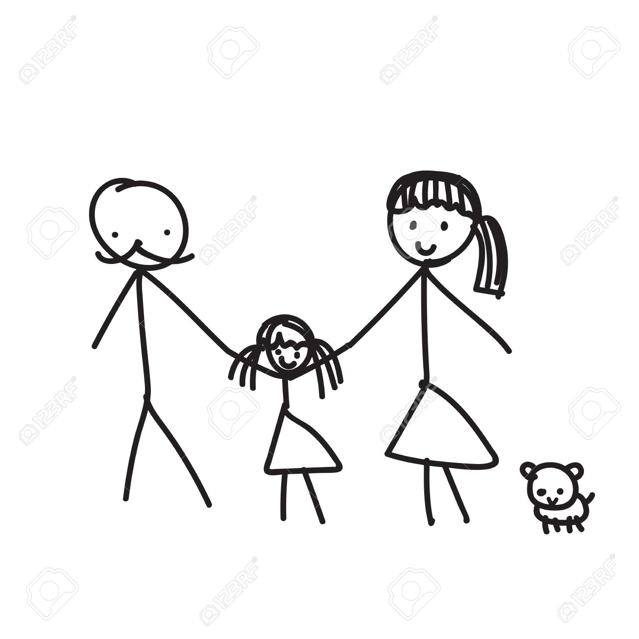1300x1300 Hand Line Drawing Of A Family Parents Father Mother Children