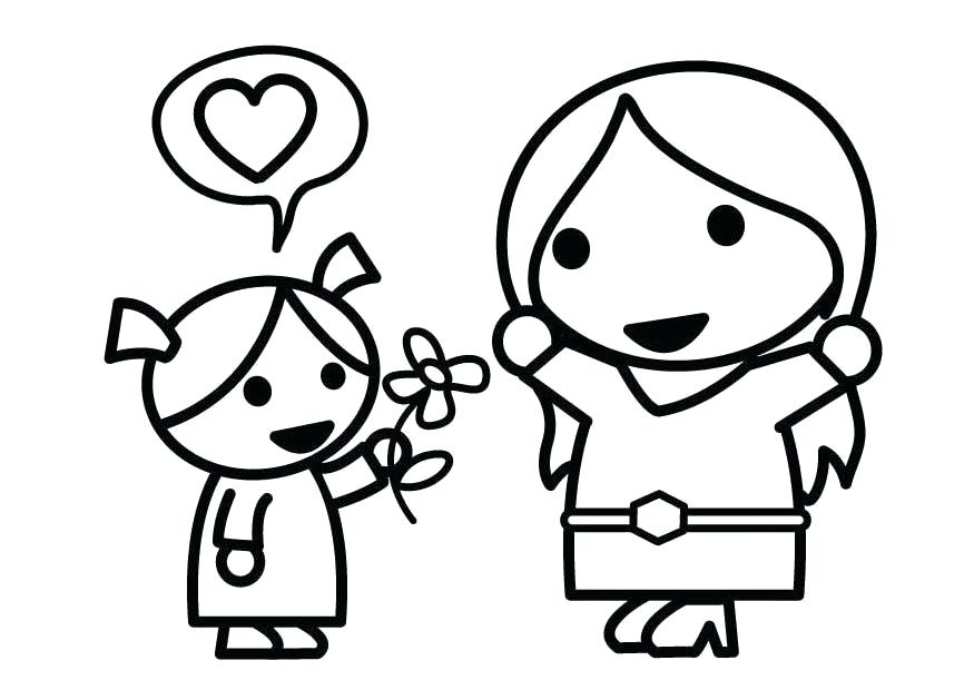 875x620 Mother And Daughter Coloring Pages Download Large Image Mother