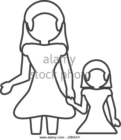 467x540 Mother Daughter Loving Outline Vector Stock Photos Amp Mother